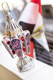 Egyptian lantern. Fanous Ramadan with Egyptian flag background Royalty Free Stock Images