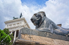 Egyptian lion at the foot of the Ara Coeli stairs Stock Photos