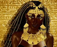 Egyptian Magic Woman Goddess in gold jewelry. And costume against gold gradient background.Our original 3d rendered digital model art creation shows off the royalty free illustration
