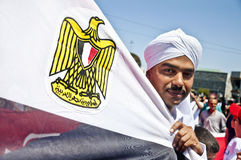 Egyptian man with flag Stock Photos