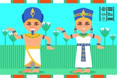 Egyptian man and woman in dancing action. Pharaoh and queen of Egypt in traditional clothes. Lotus flowers on background. Egyptian man and woman in dancing stock illustration