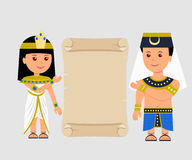Egyptian man and a woman holding a papyrus. Isolated Egyptian papyrus and characters on a light background Royalty Free Stock Photography