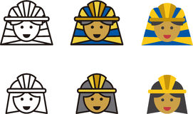 Egyptian man and woman icons Royalty Free Stock Images