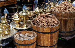 Egyptian market stall. Detail of things for sale in an egyptian market stall Stock Photos