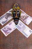 Egyptian mask lies at Egyptian pounds. Stock Images