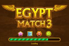 Egyptian match3 on background and jewels icons. Button play and loading game Royalty Free Stock Photography