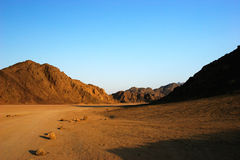 Egyptian mountains at sunset Royalty Free Stock Photography