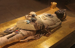 Egyptian mummy. Ancient Egyptian mummy body preserved by mummification royalty free stock photo