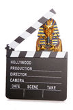 Egyptian mummy with movie clapper Stock Photos