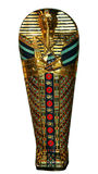 Egyptian mummy sarcophagus. Gold Egyptian mummy sarcophagus isolated on white background royalty free stock photos