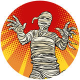 Egyptian mummy walking pop art avatar character icon. Egyptian mummy walking, Halloween character. pop art avatar character round icon. retro vector illustration Stock Photo