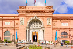 Egyptian Museum in Cairo, tourists come through the main entran Royalty Free Stock Photos