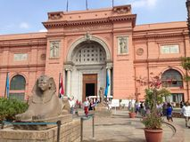 Egyptian Museum front entrance statue Stock Photo
