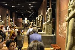 Egyptian museum The large room dedicated to statues royalty free stock photography