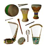 Egyptian music instruments stock illustration