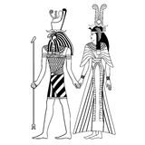 Egyptian national drawing. Vector illustration of Egyptian national drawing. Goddess Isis and Queen Nefertari Royalty Free Stock Photo