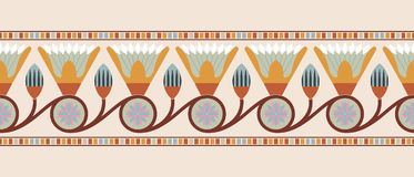 Egyptian national ornaments. Seamless vector illustration of Egyptian national ornament with lotus flower on beige background Royalty Free Stock Images