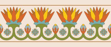Egyptian national ornaments. Seamless vector illustration of Egyptian national ornament with lotus flower on beige background Royalty Free Stock Photography