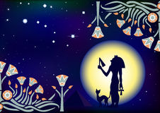 Egyptian night. Egyptian goddess Bastet with a cat, pyramids, decorative plant patterns on the background of a big moon and stars Stock Image