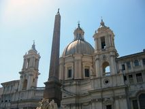 Egyptian obelisk on Piazza Navona, Rome,Italy royalty free stock photos
