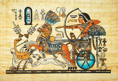 Egyptian painting. Old egyptian painting on papyrus Royalty Free Stock Images