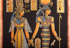 Egyptian painting on papyrus stock image