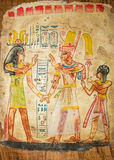 Egyptian painting on papyrus Stock Photos