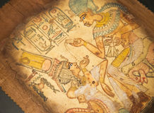 Egyptian painting on papyrus. Ancient Egyptian hand painting on papyrus Stock Photos