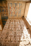 Egyptian paintings and hieroglyphs in temple Stock Images