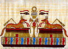 Egyptian papyrus. Egyptian natural  papyrus with eyes Stock Photo