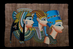 Egyptian papyrus. Showing the portrait of queens Stock Photo
