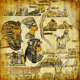 Egyptian papyrus. Old egyptian papyrus with  map Royalty Free Stock Photo