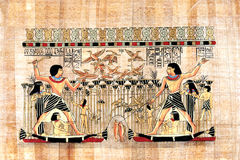 Egyptian papyrus. Old Egyptian papyrus depicting a fishing scene Stock Images