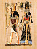 Egyptian papyrus. Modern copy in papyrus showing Horus and Nefertari in a painting from Nefertaris tomb in Thebes Stock Images