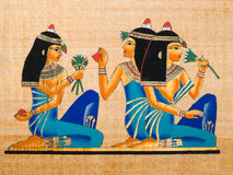 Egyptian papyrus. Showing a Banquet scene. Replica of a painting from the tomb of Nakht. Thebes. Egypt series Stock Photography