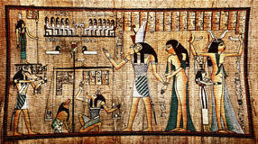 Egyptian papyrus. Ancient egyptian papyrus with pharaoh Royalty Free Stock Image