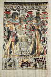 Egyptian papyrus drawing. Egyptian drawing on real papyrus with gold insertion Stock Photography