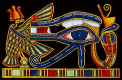 Egyptian papyrus with the Eye of Horus, also known as the eye of god Ra.
