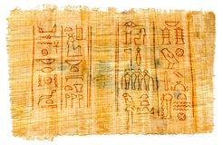 Egyptian papyrus with hieroglyphs, manuscript from The Karnak temple, Luxor, Egypt. royalty free stock photo