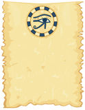 Egyptian papyrus with Horus Eye. Ancient Egyptian papyrus with The Eye of Horus. Room for your text. Vector file saved as EPS AI8 also available Royalty Free Stock Photo