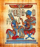 Egyptian papyrus (Life Pleasures). The Pharos used to enjoy their life in lots of ways, but they also enjoyed the family life where the husband and wife shared Stock Image