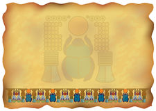 Egyptian papyrus with ornaments and scarab. Illustration Royalty Free Stock Photography