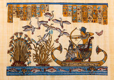 Egyptian papyrus Ramses 2. Ancient Egyptian papyrus Ramses 2 hand painting on papyrus Royalty Free Stock Image