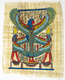 Egyptian papyrus. Papyrus showing Isis, called as Mather of gods with beautiful big wings Stock Photo