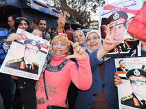 Egyptian people loves general Sisi Stock Photos