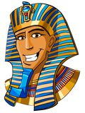 Egyptian pharaoh. Cartoon smiling face of Egyptian pharaoh on a white background Royalty Free Stock Photo