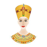 Egyptian pharaoh Cleopatra or Nefertiti in colored patterns Royalty Free Stock Photos