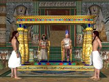 Egyptian Throne Room. The Egyptian Pharaoh and his Queen sit on the throne in the Old Kingdom of Egypt`s history stock images