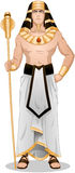 Egyptian Pharaoh Standing For Passover. Vector illustration of Pharaoh holding a serpent staff royalty free illustration
