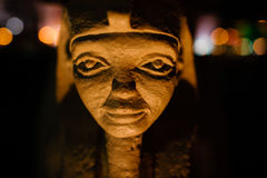 Egyptian Pharaoh Statue. Is a closeup head shot of a small Egyptian statue stock image